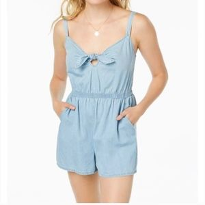 AS U WISH Chambray Cotton Tie Front Romper